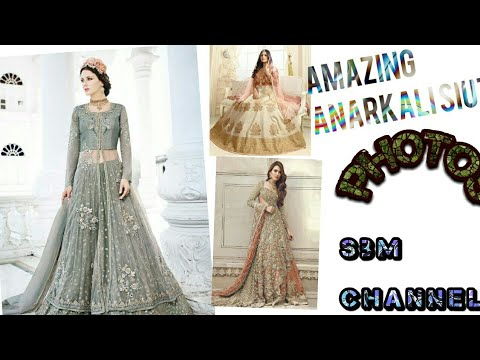 new gorgeous  golden embroidered Anarkali wedding special suit India's best design 2018 Dubai design
