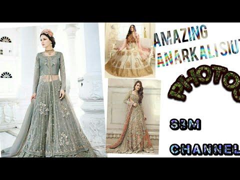 new gorgeous  golden embroidered Anarkali wedding special suit India's best design 2018 Dubai design