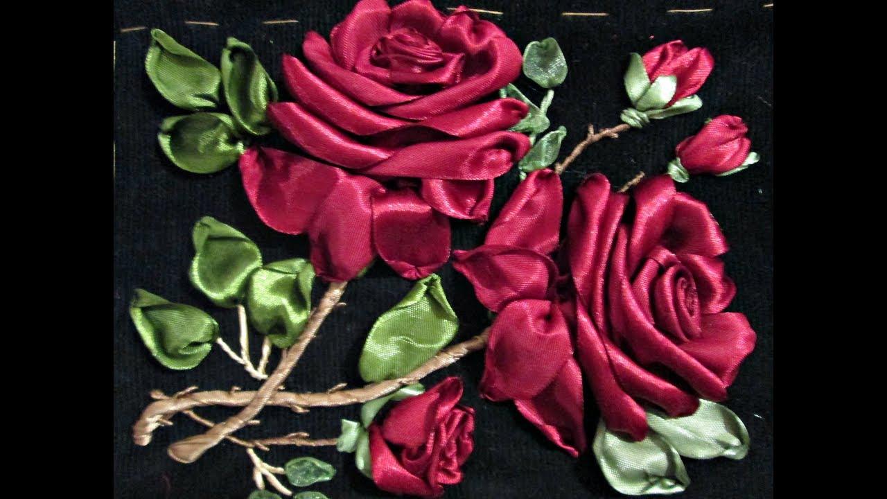 Ютуб вышивка лентами бутон розы мастер класс 22