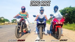 R15 V3 vs RS 200 vs NS 200 - Epic Drag Race | Highway Battle
