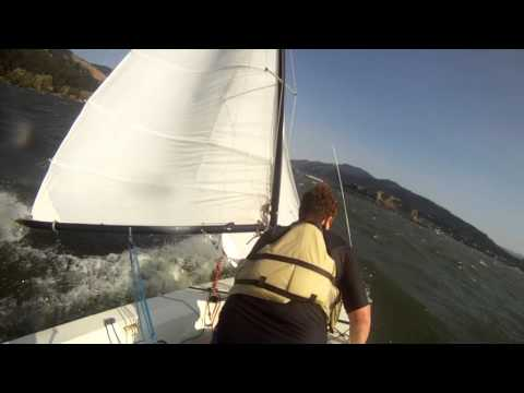 Tasar Sailing in the Columbia River Gorge - Winds 15 knots gusting to 35 knots