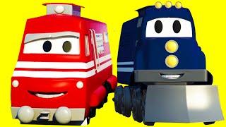 Carl Transforms com os amigos o Trem e o Tractor na Cidade do Carro | Desenho animado para crianças