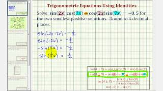 Ex: Solve a Trigonometric Equation Using a Sum and Difference Angle Identity