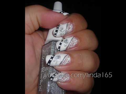 Nail Art - White Lace - Decoracion de uñas