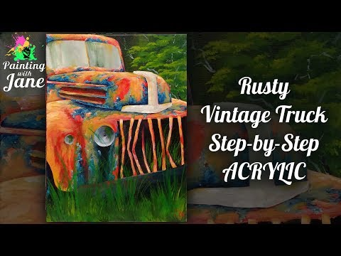 Rusty, Vintage Truck - Step by Step Acrylic Painting Tutorial