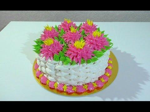 Торт корзина с цветами Как сделать торт корзину Кремовые торты Cake basket with flowers