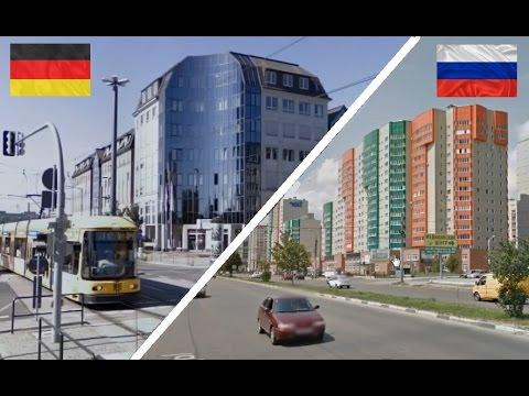Россия и Германия сравнение. Дрезден - Воронеж. Deutschland - Russland. Germany - Russia.