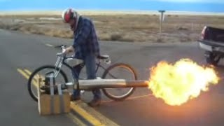 New Rocketman show starting 2017Jet Engine Bicycle! 50 Mph! really cool! Pulsejet power.
