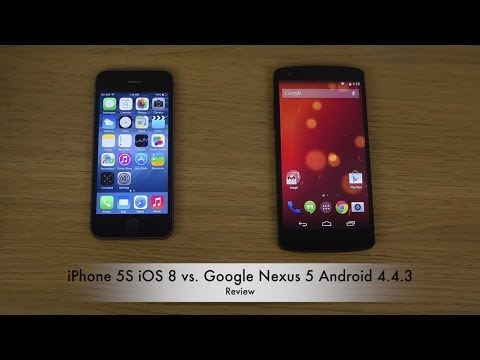 Iphone 5s Ios 8 Vs. Google Nexus 5 Android 4.4.3 Kitkat - Review video