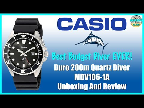 Best Budget Diver Ever!   Casio Duro 200m Quartz Diver MDV106-1A Unboxing And Review