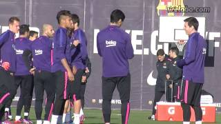 Messi, Suárez, Neymar togehter in FC Barcelona training session / www.weloba.com