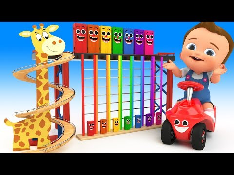 Learn Colors for Children with Baby Play Giraffe Wooden TumbleDown TheLadder Toy 3D Kids Educational