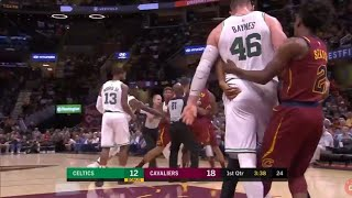 MARCUS SMART ejected after jr smith,aron baynes scuffle. CELTICS VS CAVS.
