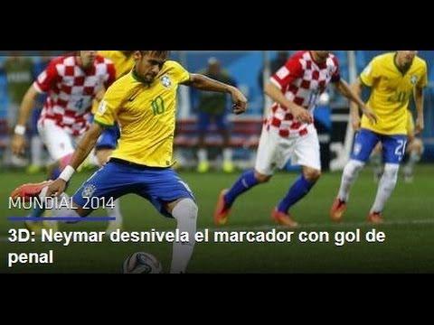 3D: Neymar desnivela el marcador con gol de penal HD Buena Narración