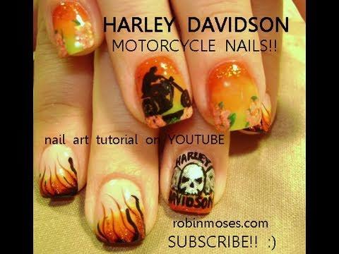 Harley Davidson Nail Art - YouTube
