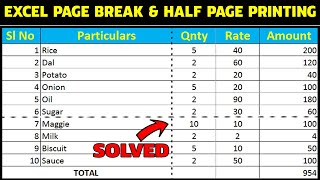 How to remove excel page break (dotted line) and fix half page printing problem