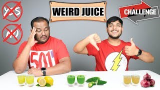 DON'T SAY YES OR NO WEIRD JUICE CHALLENGE   Juice Challenge   Eating Competition   Food Challenge