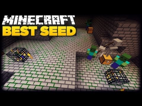 Minecraft 1.8 - BEST SEED EVER! TRIPPLE DUNGEON!!!