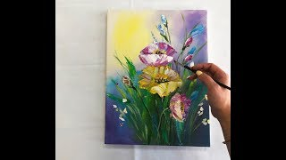 How to draw COLORFUL flowers painting/ Demonstration /Acrylic Technique on canvas by Julia Kotenko