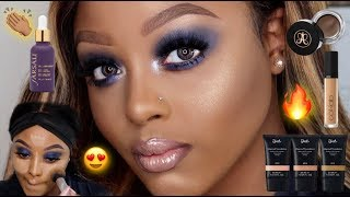 BEGINNER FRIENDLY: GLAM BLUE SMOKEY EYE MAKEUP TUTORIAL WOC | KLAIYI HAIR | GRWM