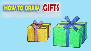 HOW TO DRAW GIFTS BOX || LESSON 42 || ONLINE DRAWING CLASSES  - for kids || S-4