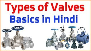 Types of Valves in Hindi || 10 Types Basics Valves used in piping system in Process Industries -