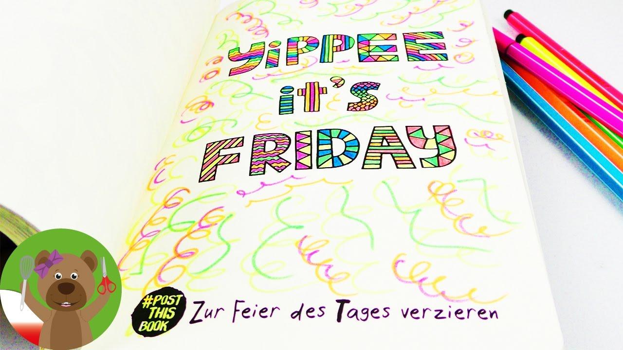 Kolorowanka Yippie it's Friday Party   kolorowanie na weekend   kolorowanie na koniec tygodnia