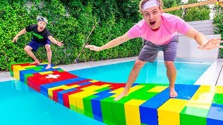 $10,000 LEGO BRIDGE ACROSS POOL!!