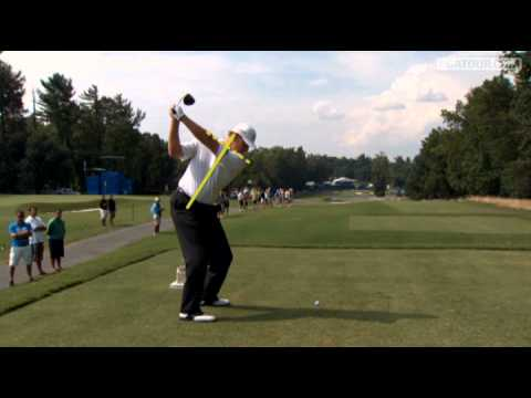 In the third round of the 2011 Wyndham Championship, Ernie Els hits a 324 yard shot off tee on the par-4 11th hole.