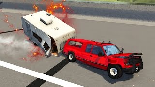 UNBELIEVABLE CARAVAN CRASH! (BeamNG Drive)