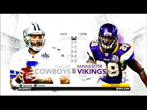 Madden NFL 12 Dallas Cowboys vs  Minosota Vikings