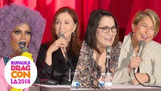 The Simpsons with Raja, Yeardley Smith, Tress MacNeille, Carolyn Omine at RuPaul