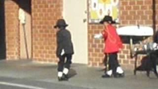 Two Kinders dancing and dressing like Michael Jackson