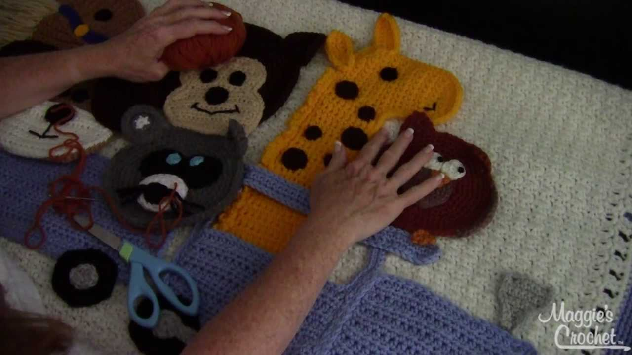 Crochet Applique Pieces - Sewing to Background - YouTube