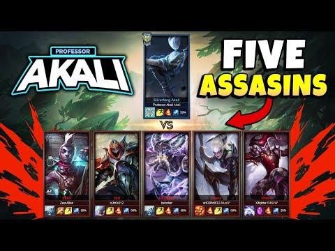 PROFESSOR AKALI VS 5 BRONZE ASSASSINS! (1V5) - League of Legends