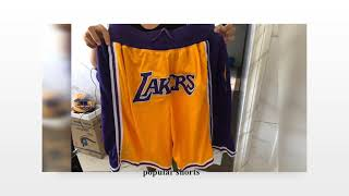 Lebron James NBA Wearing $500 LAKERS Shorts VS $35 Fake Lakers Short Ajerseysshop