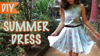 How to make a Summer Dress   DIY Beginners Skater Dress Tutorial   Circle Skirt   Kreena Desai