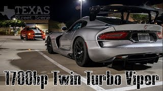 1700hp TWIN TURBO VIPER ACR vs A 4.5 WHIPPLE GT500 vs a NITROUS ZX-10 and a R1M!!!
