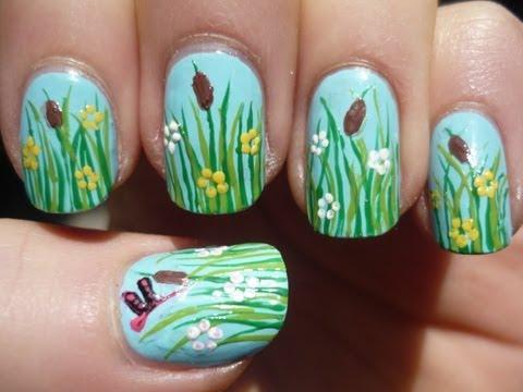 Spring Grass Nail Art Tutorial
