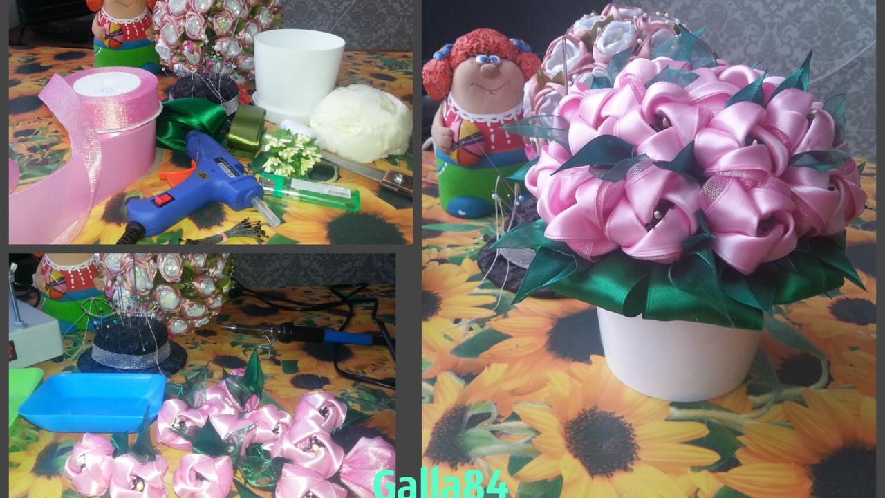 Горшочек с цветком своими руками из атласных лент 58