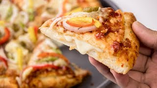 Cheese Burst Pizza Recipe | Homemade Domino's Restaurant Style - CookingShooking