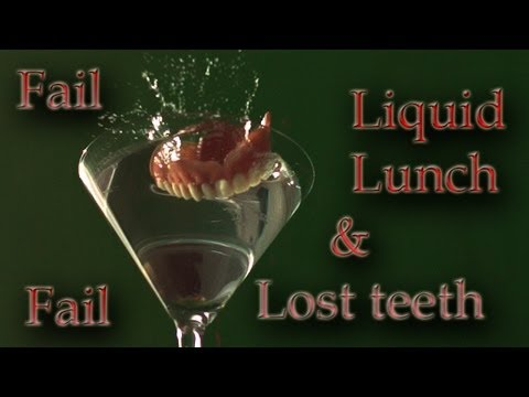 Dentures fall into Martini in UltraSlo slow motion