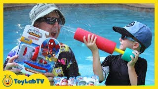 Spiderman & Superheroes Outdoor Water Toys Unboxing & Review with Aaron & LB in Fun Kids Video