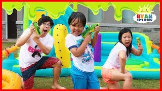 SLIME BLASTER CHALLENGE with Ryan's World Toys!!!!