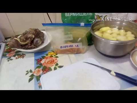 Экономное меню.Суп с говядиной.Свинина с картошкой и капустой.Шарлотка.