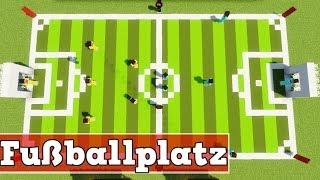 Wie baut man einen Fußballplatz in Minecraft   Minecraft Fußballplatz Bauen Deutsch Tutorial