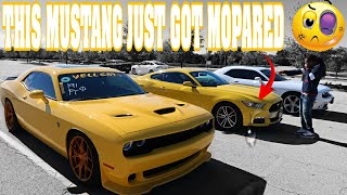CAR SWITCH RT/HELLCAT RECKLESS DRIVING AND WE TOTALLY DISRESPECTED THIS MUSTANG (HILARIOUS)