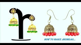 How to make Jhumkas#simple and easy craft#DIY# party wear# look prity# creative idea