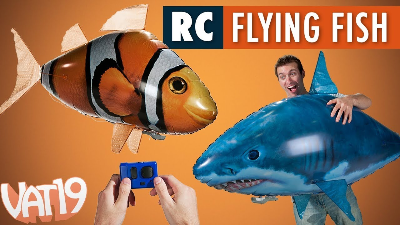 Air swimmers remote control flying fish youtube for Remote control air swimming fish