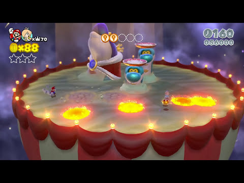 Super Mario 3D World: 2P Co-Op! Boss Blitz FLOWER-3 (Nintendo Wii U HD Gameplay Walkthrough)
